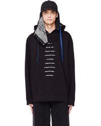 Raf Simons - Black Cotton Patched Hoodie - Lyst