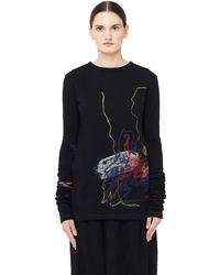 Yohji Yamamoto - Abstract Print Crew Neck Sweater - Lyst