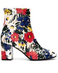 Balenciaga - Flower Printed Leather Ville Boots - Lyst