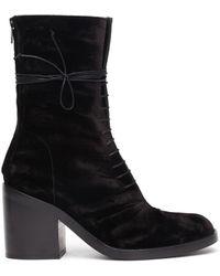 Ann Demeulemeester - Velvet Lace-up Heeled Boots - Lyst