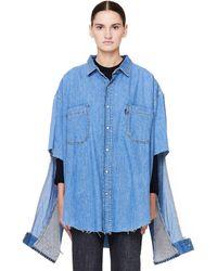 Vetements - Levi's Denim Shirt With Cutout Sleeves - Lyst
