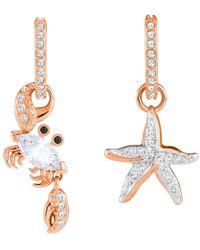 6ea26256142f7 Lyst - Swarovski 5274268 Crystaldust Hoop Pierced Earrings in Metallic