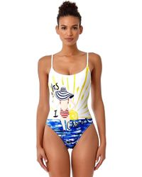 Anne Cole - Studio Yes I Cannes Slogan Engineered Vintage Lingerie Maillot One Piece Swimsuit - Lyst