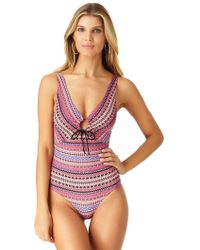 Anne Cole - Stevie Stripe Mesh Tee Tunic Swim Cover Up - Lyst