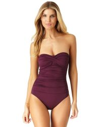 Anne Cole - Live In Color Twist Front Shirred Bandeau One Piece Swimsuit - Lyst