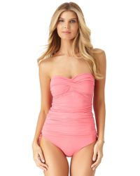 Anne Cole - Engineered Floral High Neck Keyhole Tankini Swim Top - Lyst
