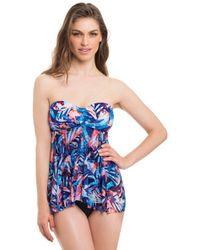 Gottex - Tahiti Flyaway Flounce Bandeau One Piece Swimsuit - Lyst