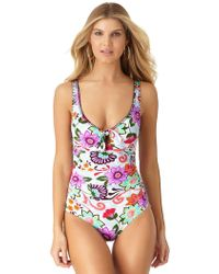 Anne Cole - Fleetwood Floral Flounce V Neck Tunic Swim Cover Up - Lyst
