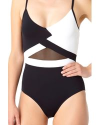 Anne Cole - Hot Mesh Color Block V Neck Maillot One Piece Swimsuit - Lyst