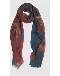 Roman - Blue & Burgundy Floral Scarf - Lyst
