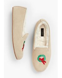 Talbots - Fireside Shearling-lined Slippers - Wreath Design - Lyst