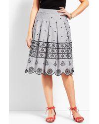 Talbots - Eyelet Pleated Stripe Skirt - Lyst