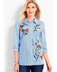 Talbots - Embroidered Stripe Shirt - Lyst