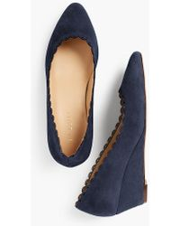 Talbots - Laney Wedges - Kid Suede/scalloped - Lyst