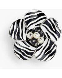 Talbots Zebra-stripe Flower Brooch