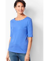 3cb64ff1512aab Lyst - Talbots Scallop-neck Top - Dot in Blue