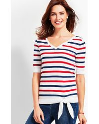 Talbots - Relaxed Tie-front Sweater-stripe - Lyst