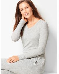 Talbots - Ribbed Henley Top - Lyst