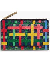 Talbots - Fun Plaid Pebble Leather Zip Card Case - Lyst