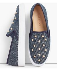 Talbots - Pearl Embellished Denim Sneakers - Lyst
