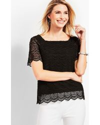 Talbots - Lace Square-neck Top - Lyst