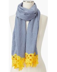 Talbots - Gingham Yarn-dyed Scarf With Embroidery - Lyst