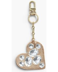 Talbots - Bejeweled Leather Heart Keychain - Lyst