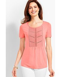 Talbots - Woven Front Short-sleeve Top - Lyst