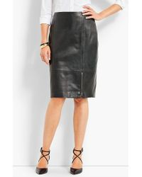 Talbots - Leather Front Zip Pencil Skirt - Lyst