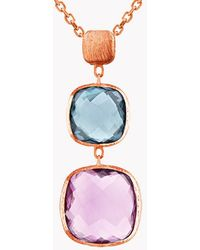 Tateossian - 14k Rose Gold Belgravia Necklace With Amethyst And London Blue Topaz - Lyst