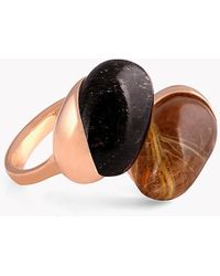 Tateossian - 18k Rose Gold Mayfair Ring With Black Rutilated Quart & Gold Rutilated Quartz - Lyst