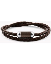 Tateossian - Montecarlo Bracelet In Brown Leather With Silver And Enamel Clasp - Lyst