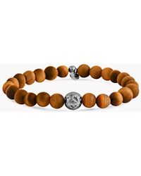 Tateossian - Brown And Rhodium-plated Silver Lava Bracelet - Lyst