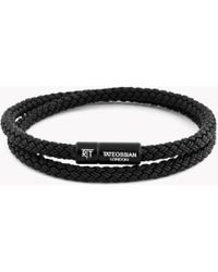 Tateossian - Rt Rubber Cable Bracelet In Black - Lyst