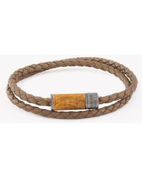 Tateossian - Montecarlo Bracelet In Light Brown Leather And Wooden Clasp - Lyst