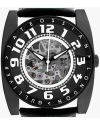Tateossian - Gulliver Skeleton Sport Watch In Ion Plated Matte Black Finish And White Detailing - Lyst