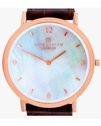 Tateossian - Rotondo Ultra Slim Watch With White Mother Of Pearl And Rose Gold Colour Plating - Lyst