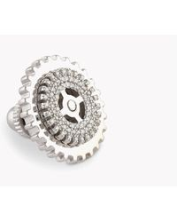Tateossian - Gear Pavé Silver Pin In White Diamonds (0.245cts) - Lyst