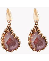 Tateossian - Geode Short Drop Silver Earrings In Pink - Lyst
