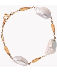 Tateossian - 18k Rose Gold South Sea Baroque Pearl Drop Bracelet With 3 Pearls - Lyst