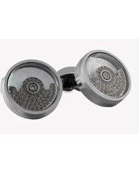 Tateossian - Black Diamond Pendulum Silver Cufflinks - Lyst