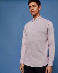 c9075ef5dda4 Ted Baker Houndstooth Cotton Shirt in Pink for Men - Lyst