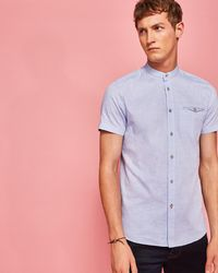 Ted Baker - Granddad Collared Cotton Shirt - Lyst