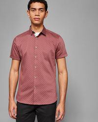 Ted Baker - Printed Textured Cotton Shirt - Lyst