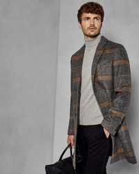 Ted Baker - Checked Overcoat - Lyst