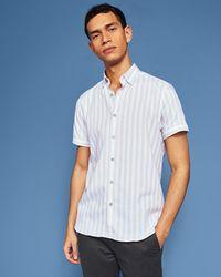 Ted Baker - Vertical Stripe Cotton-blend Shirt - Lyst