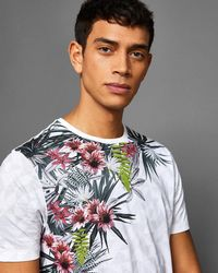 Ted Baker - Floral Print Cotton T-shirt - Lyst
