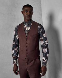 Ted Baker - Debonair Slim Plain Wool Waistcoat - Lyst