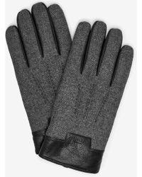 Ted Baker - Mouliné Leather Trim Gloves - Lyst