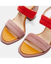 32a9d4d5709 Ted Baker - Block Heel Leather Sandals - Lyst